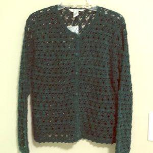 JohnPaulRichard Sweater Crochet Cardigan SZ M NWT